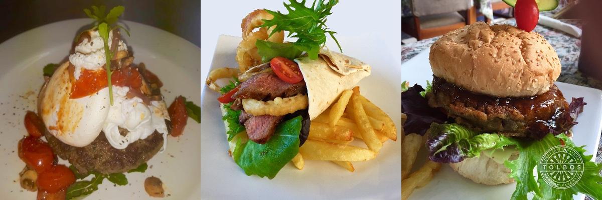 Banting Burger, Prego Steak Wrap, Bobotie Burger